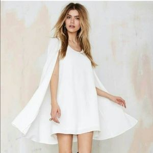 Nasty Gal White Cape Mini Dress | S